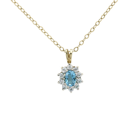 Second Hand 9ct Gold Blue Topaz & Cubic Zirconia Pendant & Chain