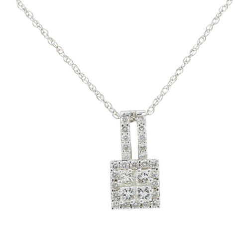 Second Hand 18ct White Gold Princess Cut Diamond Pendant