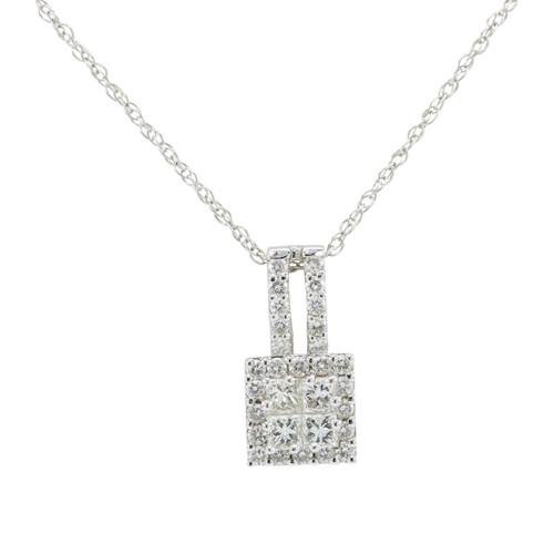 Second Hand 18ct White Gold Princess Cut Diamond Pendant