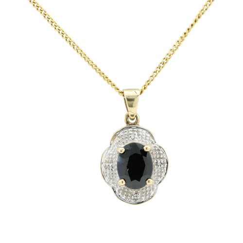 Second Hand 9ct White & Yellow Gold Sapphire Pendant