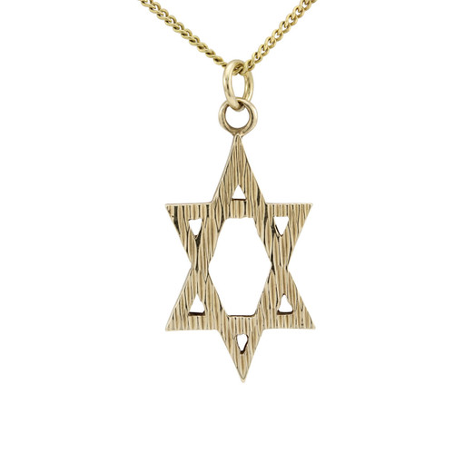 Second Hand 9ct Gold Elongated Star of David Pendant