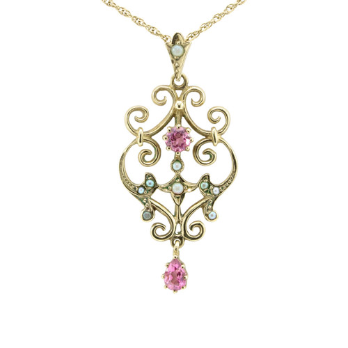 Vintage Style 9ct Gold Pink Tourmaline & Seed Pearl Pendant & Chain