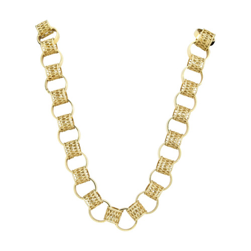 "Second Hand 9ct Gold Openwork Hoop Link 18"" Chain Necklace"
