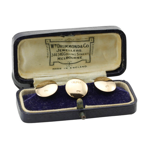 Three Boxed Antique 15ct Gold Dress Studs