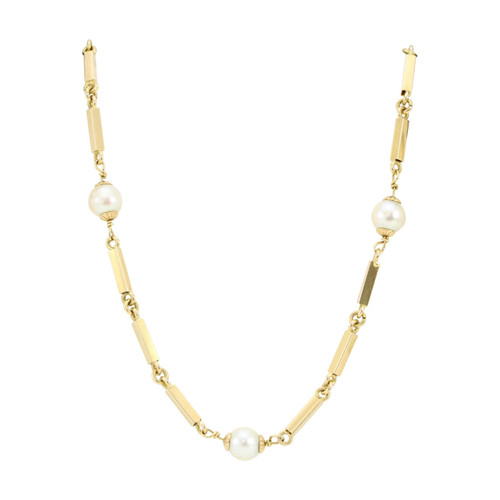 "Second Hand 18ct Gold Bar Link and Pearl 32"" Long Necklace"