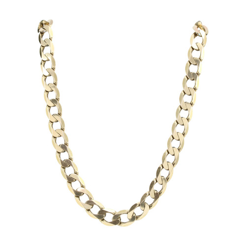 """Second Hand 9ct Gold 23"""" Heavy Flat Curb Chain Necklace"""