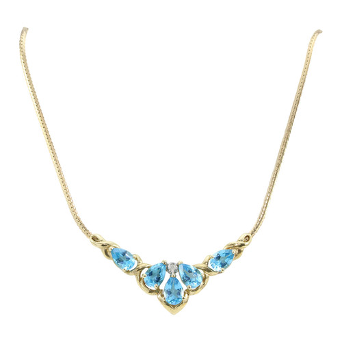 Second Hand Blue Topaz & Diamond Necklace