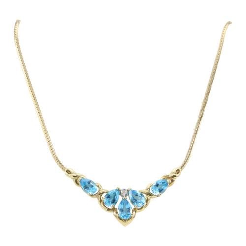 Second Hand Blue Topaz & Diamond Necklace