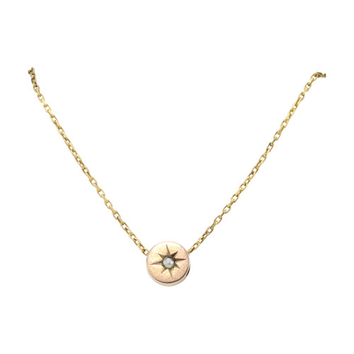 Antique 9ct Gold Star Set Pearl Disc Pendant with 14ct Gold Chain Necklace