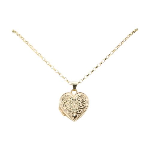 "Second Hand 9ct Gold Heart Locket on 20"" Belcher Chain"