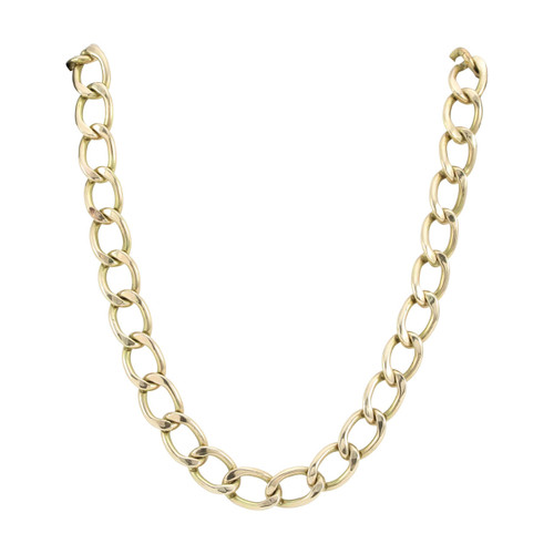 "Second Hand 9ct Gold 22"" Heavy Open Curb Chain Necklace"