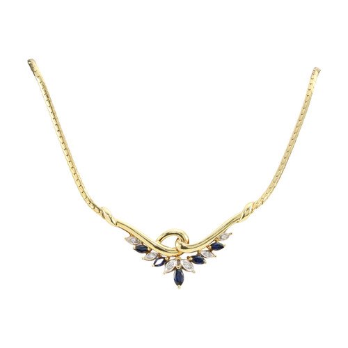 Second Hand 18ct Gold Sapphire & Diamond Necklace