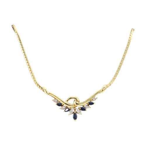 Second Hand 18ct Gold Sapphire & Diamond Necklace