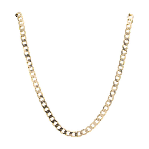 """Second Hand 9ct Gold 22"""" Flat Curb Chain Necklace"""