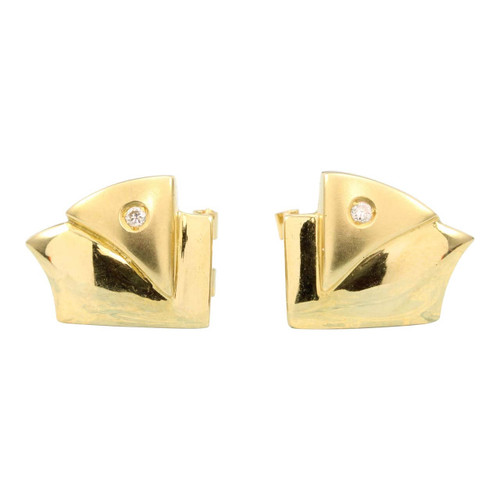 Second Hand 18ct Gold Diamond Abstract Earrings