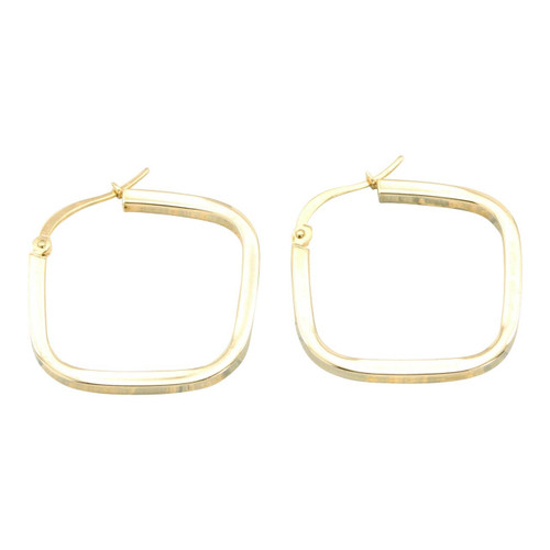 Second Hand 14ct Gold Square Hoop Earrings