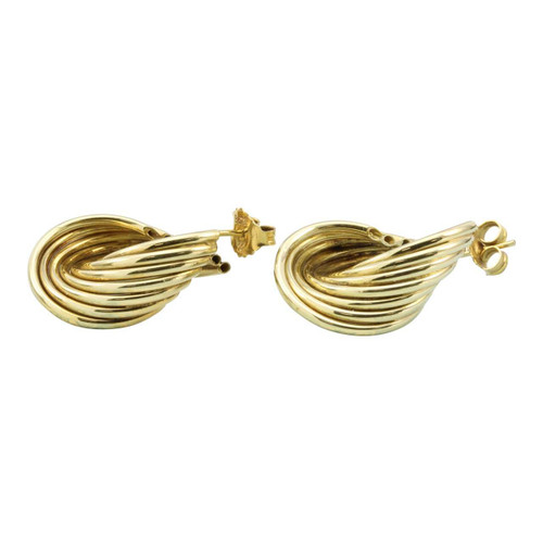 Second Hand 14ct Gold Reeded Twist Hoop Earrings