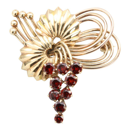 Second Hand 9ct Gold Garnet Fruit Design Brooch
