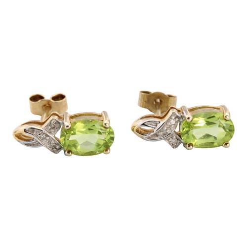 Second Hand 9ct Gold Peridot & Diamond Stud Earrings