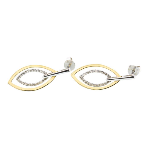 Second Hand Two Colour 18ct Gold Diamond Leaf Earrings