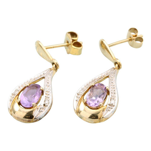 Second Hand 9ct Gold Amethyst & Diamond Teardrop Earrings