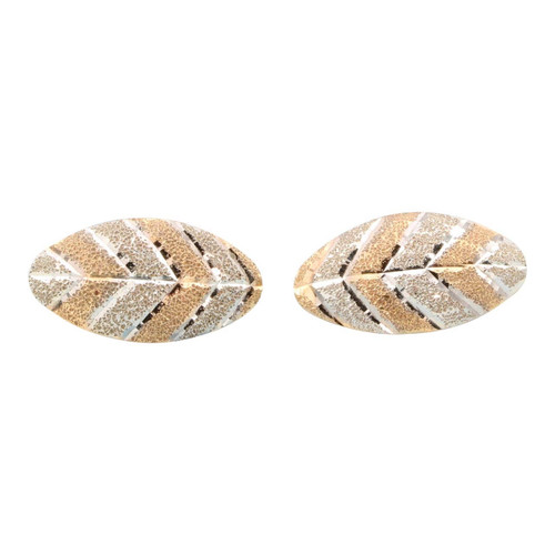 Second Hand 14ct Gold Two Colour Leaf Stud Earrings