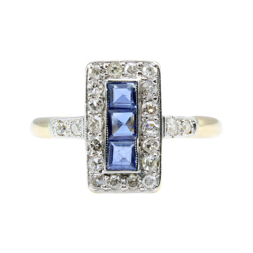 Art Deco 18ct Gold & Platinum Sapphire & Diamond Ring