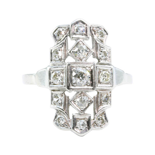 Art Deco Platinum Diamond Cocktail Ring