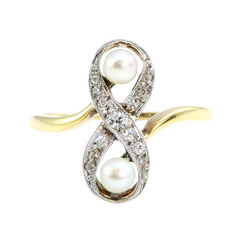 Antique Art Noveau 18CT Gold Pearl & Diamond Cocktail Ring