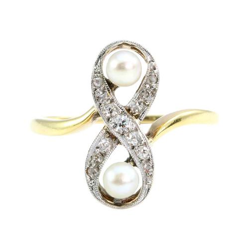 Antique Art Noveau 18CT Gold Pearl & Diamond Cocktail Ring