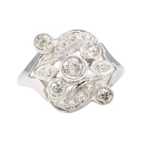 Art Noveau 14ct Gold Diamond Cluster Ring
