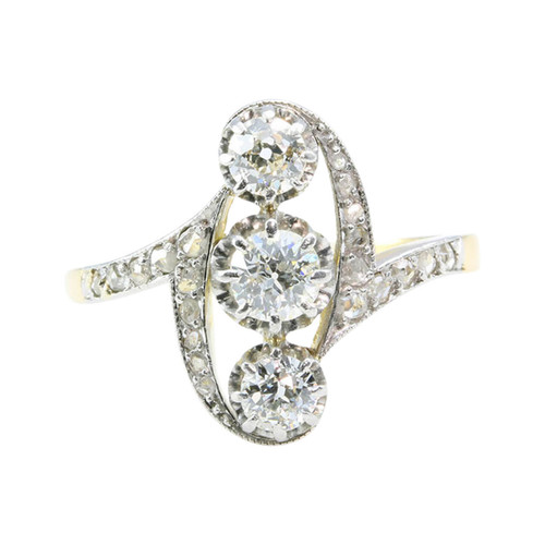Antique French 18ct & Platinum 3 Stone Diamond Ring