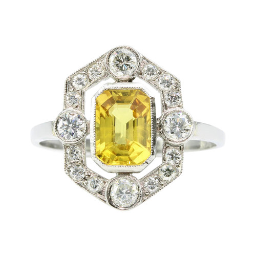 Art Deco Style Platinum Yellow Sapphire & Diamond Ring