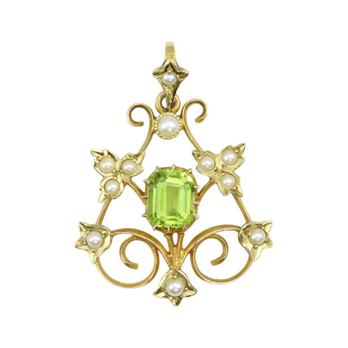 Antique Belle Époque 15ct Gold Peridot & Pearl Pendant