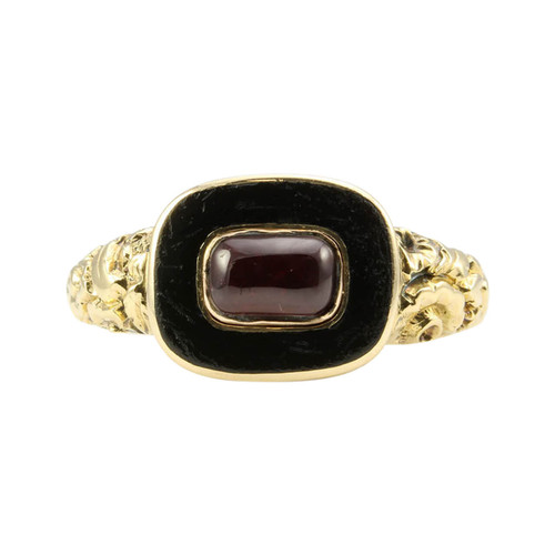 Antique Georgian 15ct Gold Garnet & Onyx Mourning Ring