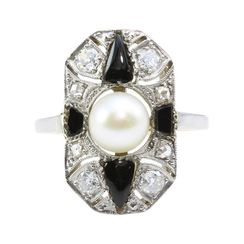 Art Deco 18ct Gold Cultured Pearl, Onyx & Diamond Dress Ring