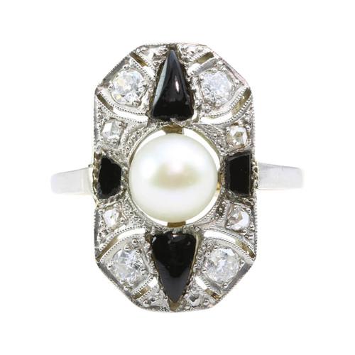 Art Deco 18ct Gold Cultured Pearl, Onyx & Diamond Dress Ring