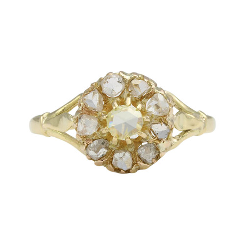 Antique Georgian 18ct Gold Rose Cut Diamond Cluster Ring