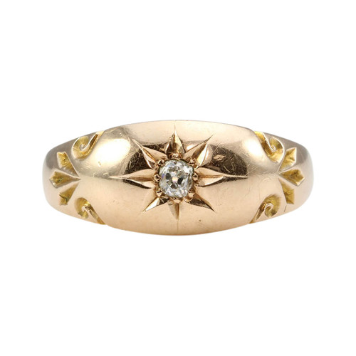 Antique 9ct Gold Diamond Gypsy Ring