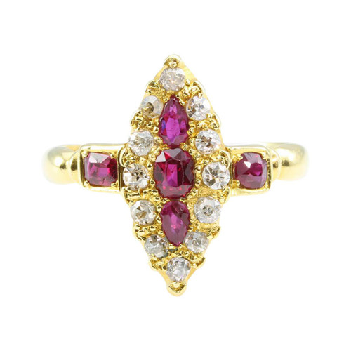 Antique Edwardian 18ct Gold Ruby & Diamond Marquise Ring
