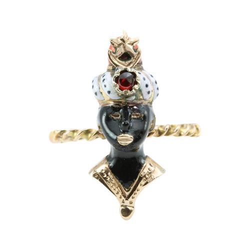 Antique 9ct Gold Garnet, Coral and Enamel Blackamoor Ring