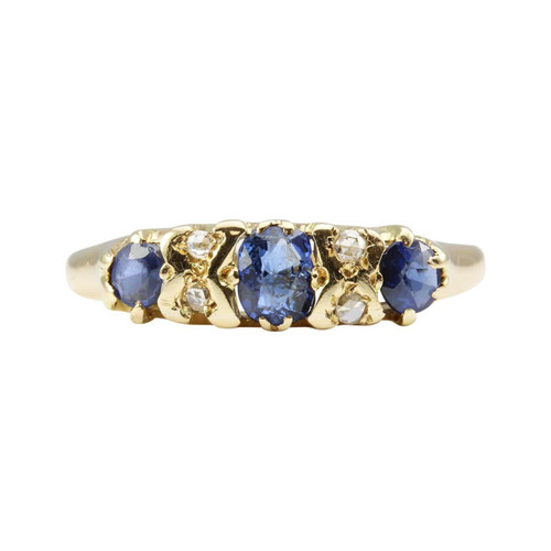 Antique 18ct Gold Sapphire & Diamond Half Hoop Ring