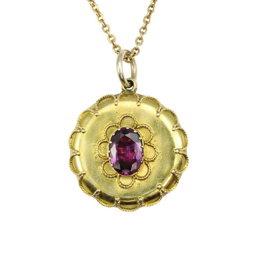 Antique Victorian 9ct Gold Garnet Memorial Locket Pendant & Chain