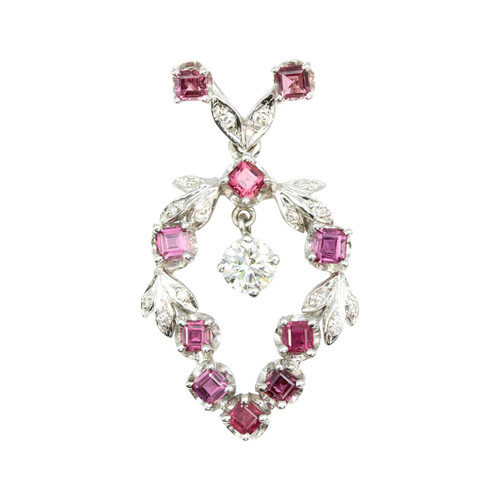 Second Hand Gold Spinel  & Diamond Belle Époque Style Pendant