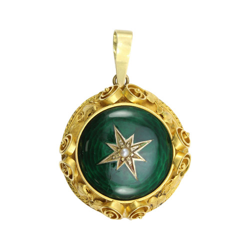 Antique Victorian 15ct Gold & Enamel Locket Pendant