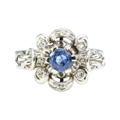 Vintage Italian 18ct Gold Sapphire & Diamond Cluster Ring