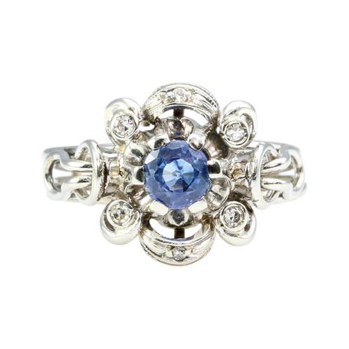 Vintage Italian 18ct Gold Sapphire & Diamond Cluster Ring