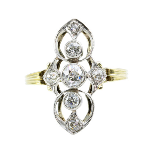 Antique Art Noveau 18ct Gold 3 Stone Diamond Ring