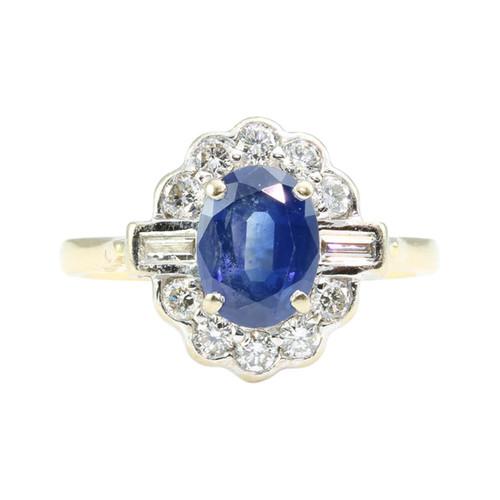 Art Deco Style 18ct Gold Sapphire & Diamond Cluster Ring