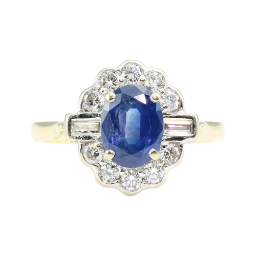 Art Deco Style 18ct Gold Sapphire & Diamond Cluster Ring